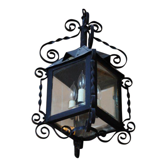 19th Century Four-Sided Arts & Crafts Iron Lantern For Sale