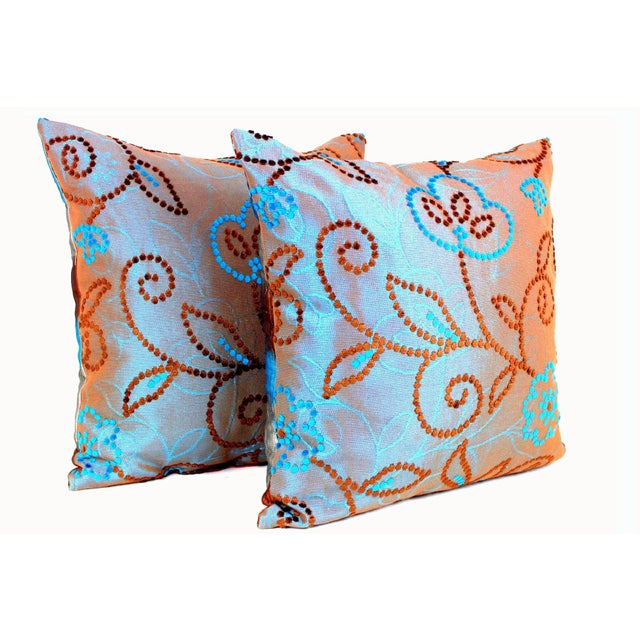 Indian Vintage Floral Handwoven Varanasi Brocade Reversible Pillow For Sale - Image 3 of 13