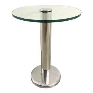 1970's Attributed to Pace Collection Silver & Glass Swivel Side Table