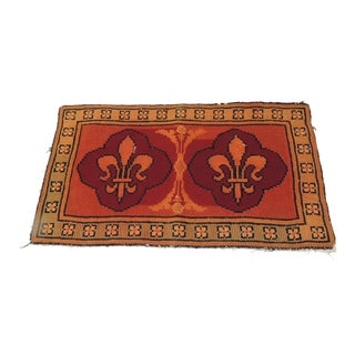 Vintage Fleur-De-Lis Orange and Red Tapestry For Sale
