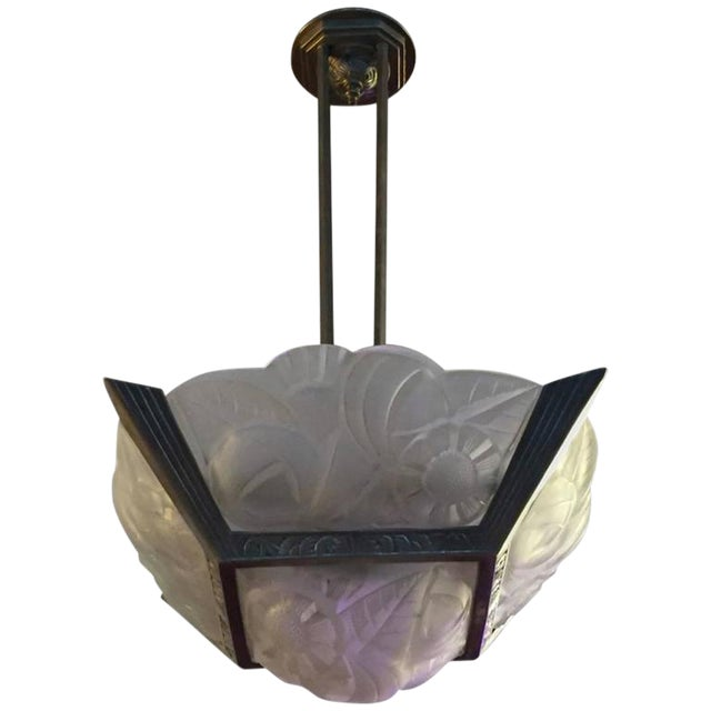French Art Deco Signed Degue Chandelier For Sale
