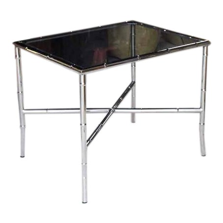Chrome Faux Bamboo Smoked Glass Top Side or Coffee Table For Sale