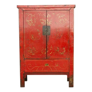 Red Lacquer Chinese Wedding Cabinet For Sale