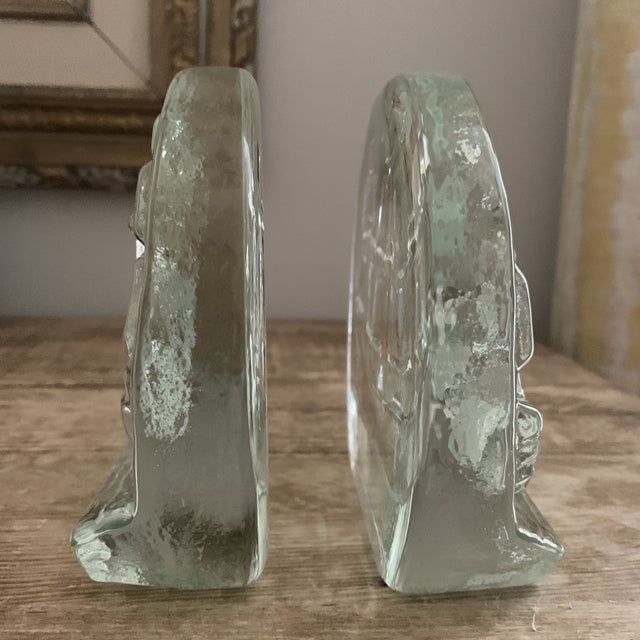 Blenko Blenko Glass Sailing Ship Bookends- a Pair For Sale - Image 4 of 7