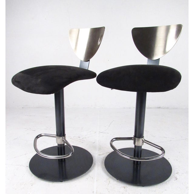 Industrial Pair Industrial Metal Bar or Counterl Stools For Sale - Image 3 of 13