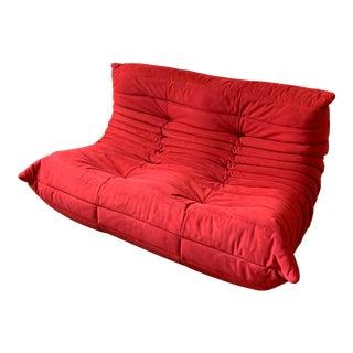 Ligne Roset Alcantara Goya Red Togo Loveseat For Sale