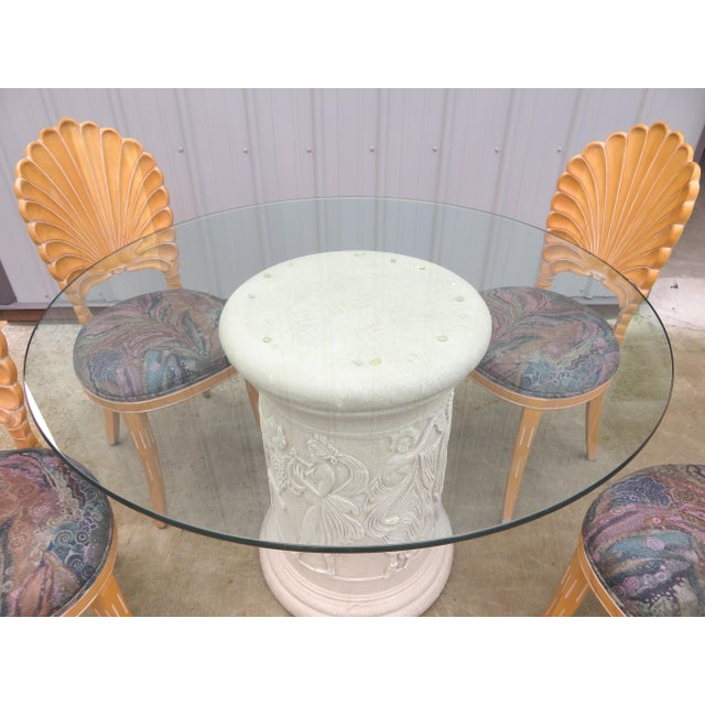 Excellent vintage Italian Grotto style dining table set! Very rarely do you see this set all together, it is usually just...