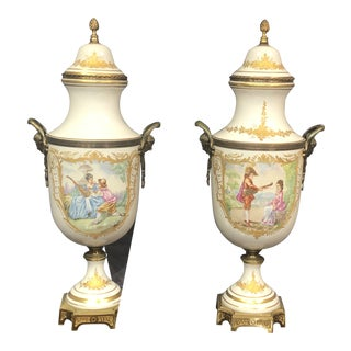 Late 20th Century Vintage Hand Painted Urns - a Pair For Sale