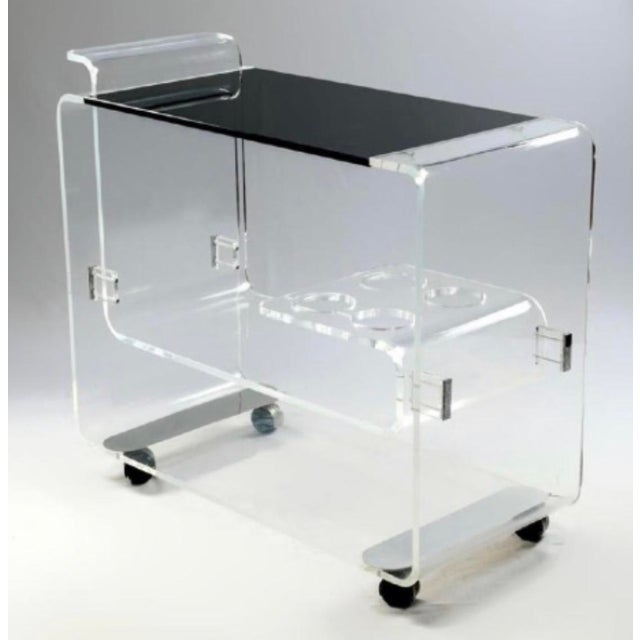 Glass Lucite Bar Cart Att. To Lion in Frost For Sale - Image 7 of 7