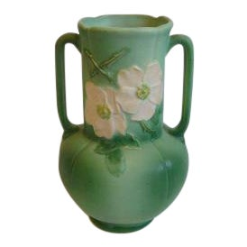 vintage weller pottery dogwood matte green vase