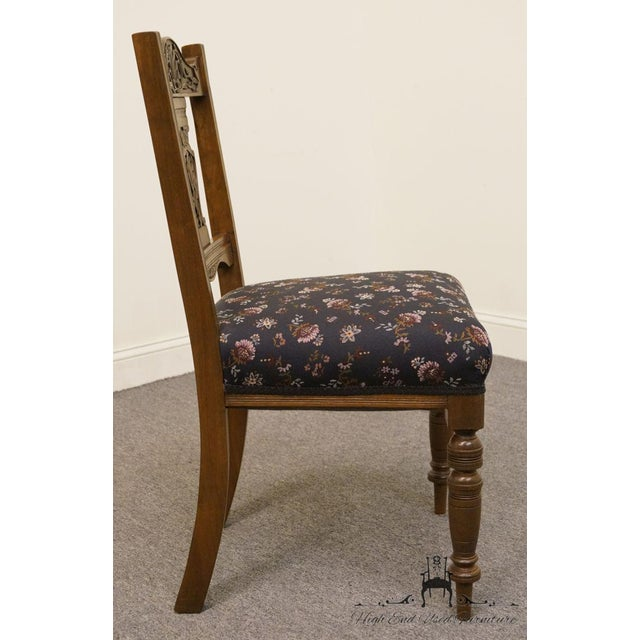 Wood 1940's Antique Jacobean Gothic Revival Walnut Dining Side Chair For Sale - Image 7 of 8