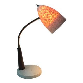 1960s Gooseneck Plastic Wood Desk Lamp For Sale