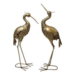 Vintage Silver Brass Heron Sculptures - a Pair For Sale