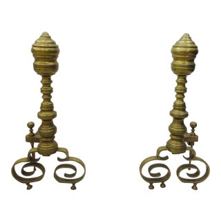 Vintage Brass Fire Place Andirons - A Pair