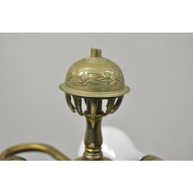 Vintage Brass Indian Moroccan Boho Chic Etched Brass Side Table Pole Floor Lamp For Sale - Image 10 of 13