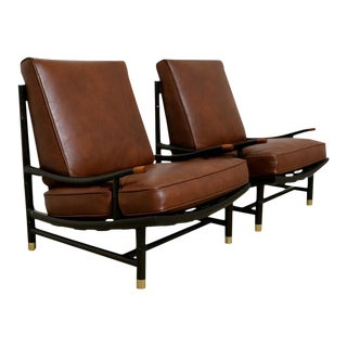 Frank Kyle Rare Lounge Chairs With Accents by Maggie Howe - a Pair
