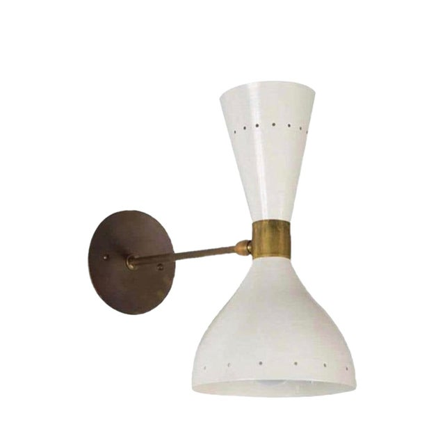 1950s Italian Stilnovo Style Double Cone Sconce For Sale In Los Angeles - Image 6 of 6