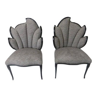Custom Cut Velvet Silk and Cotton Black Lacquered Fan Back Chairs - A Pair For Sale