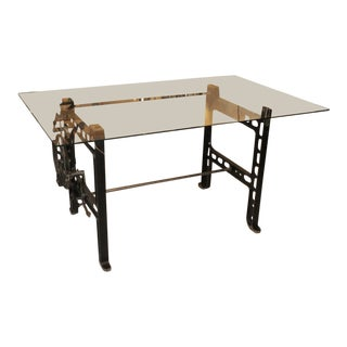 Gear Table With Glass Top For Sale