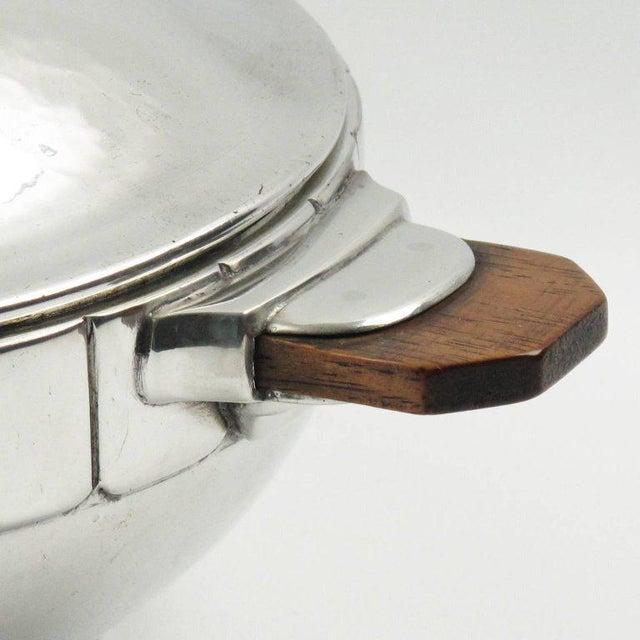 1940s Modernist Polished Pewter Tureen, Covered Dish Centerpiece by h.j. Geneve For Sale - Image 5 of 7