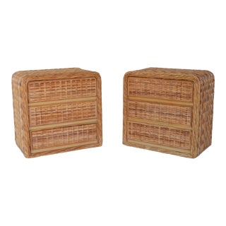 Mid-Century Woven Rattan Dressers or Chests - a Pair For Sale