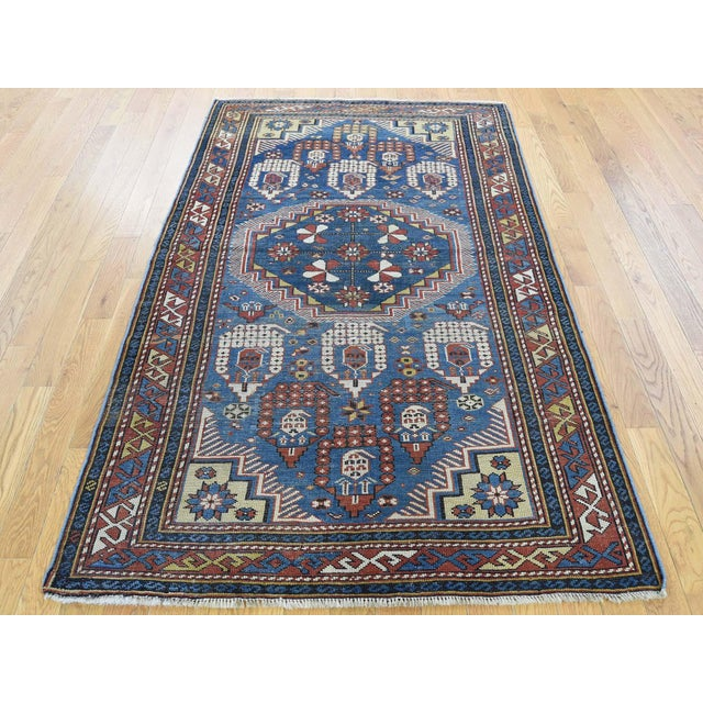 Blue Antique Caucasian Kazak Even Wear Hand Knotted Rug- 3′10″ × 6′3″ For Sale - Image 8 of 8