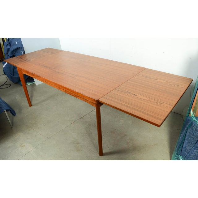 Danish Modern Large Teak Dining Table With 2 Dutch Leaves For Sale In Washington DC - Image 6 of 9