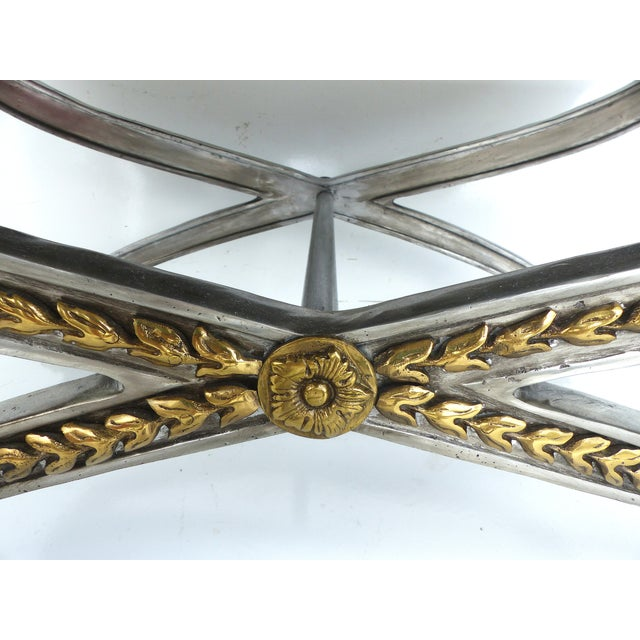 Stainless, Brass & Leather Coffee Table - Image 4 of 11