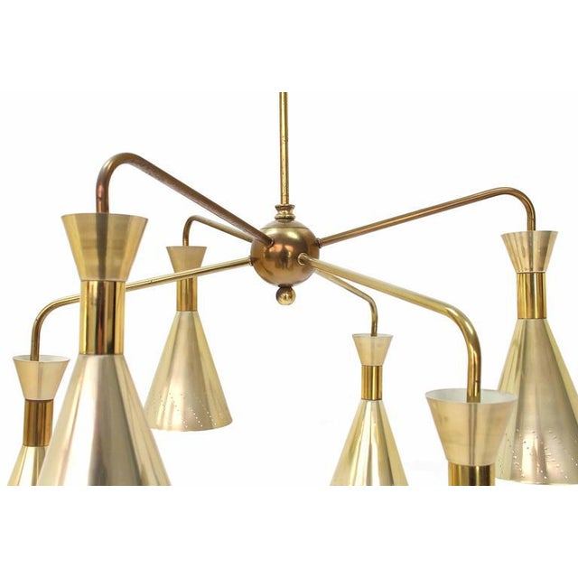 Mid-Century Modern Cone Shades Sputnik Style Chandelier For Sale - Image 3 of 9
