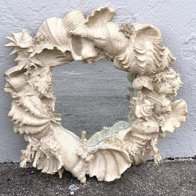 Glass Naturalistic Coral and Shell Motif Porthole Mirror For Sale - Image 7 of 12