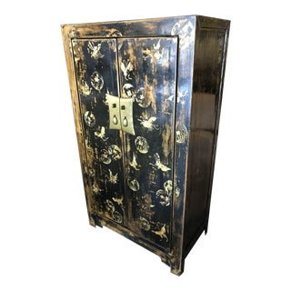 Asian Style Chinoiserie Gold and Black Cabinet