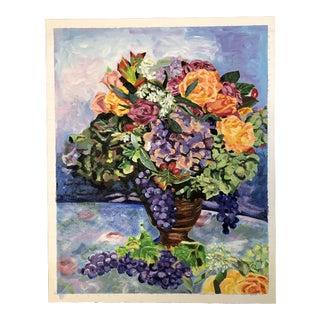 Vintage Original Contemporary Impressionist Still Life Floral Painting For Sale