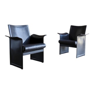 Tito Agnoli for Matteo Grassi Korium Leather Armchairs - a Pair For Sale