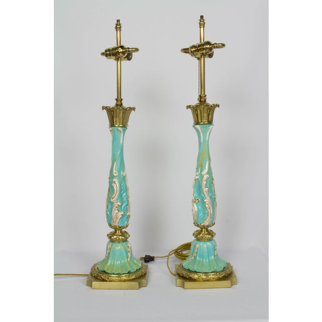 Late 19th Century Turquoise Rococo Table Lamps - a Pair For Sale - Image 4 of 11