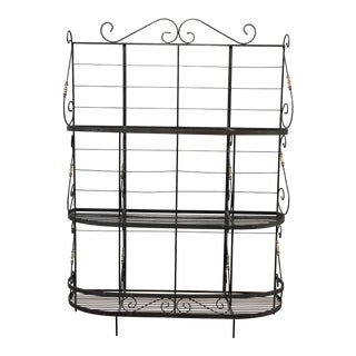 Vintage Black and Gold Baker's Rack For Sale