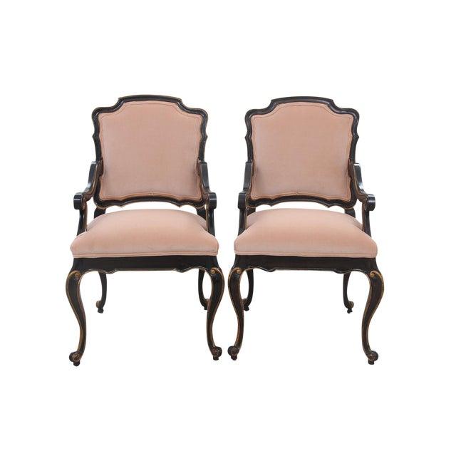 Late 20th Century Blush Velvet Louis XV Style Fauteuils- A Pair For Sale
