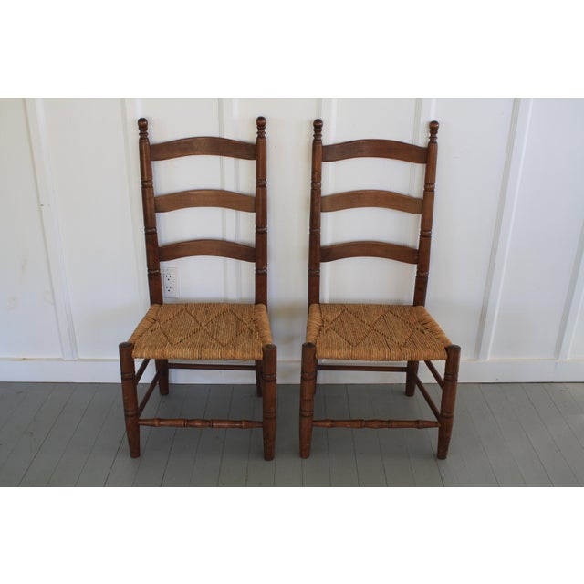 Antique Rush Seat Chairs - A Pair - Image 3 of 11