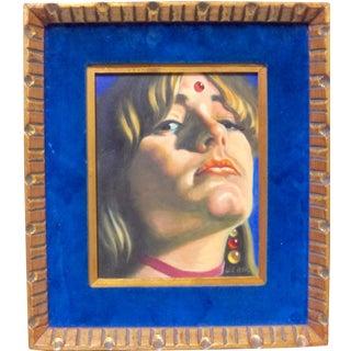 1960s Vintage Salvador De Regil Hippie Woman Oil Painting For Sale