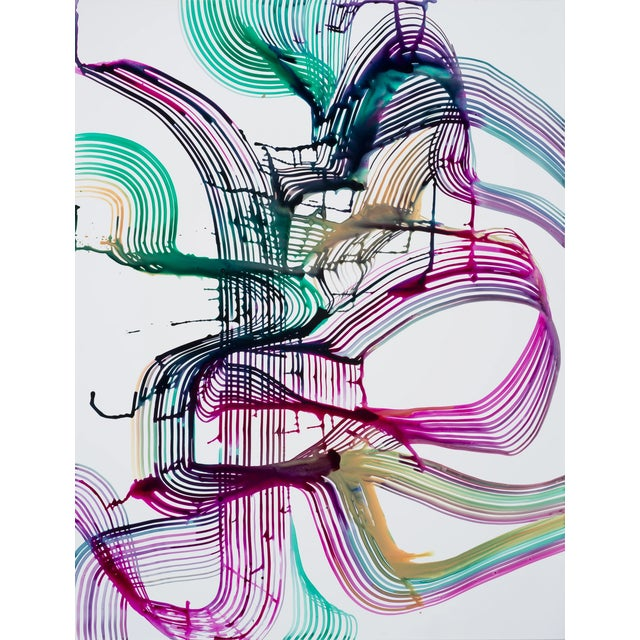 """Abstract Lorene Anderson """"Harmonics"""" Colorful Abstract Painting on Paper For Sale - Image 3 of 3"""