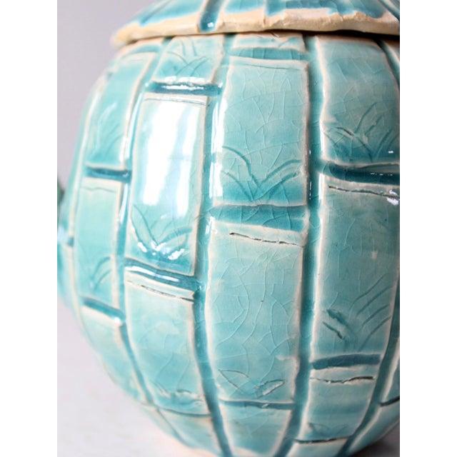 Turquoise Vintage Studio Pottery Tea Pot For Sale - Image 8 of 11