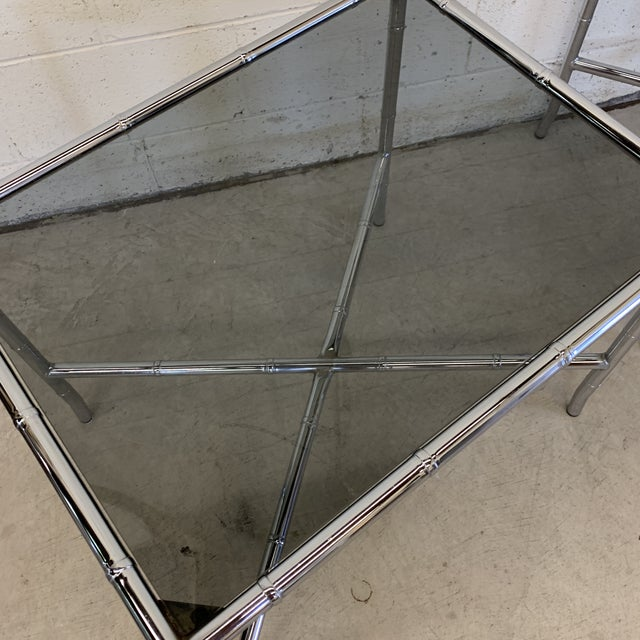 1970s 70s Faux Bamboo Chrome and Smoke Glass End Tables - a Pair For Sale - Image 5 of 13