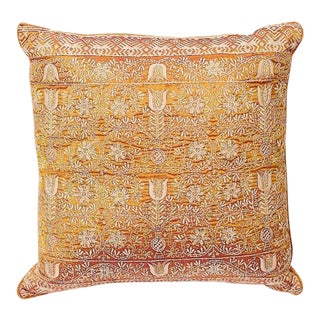 Copper Silk Embroidered Accent Pillow