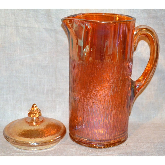 Mid-Century Modern Jeannette Marigold Tree Bark Pitcher and Glasses Set For Sale - Image 3 of 8
