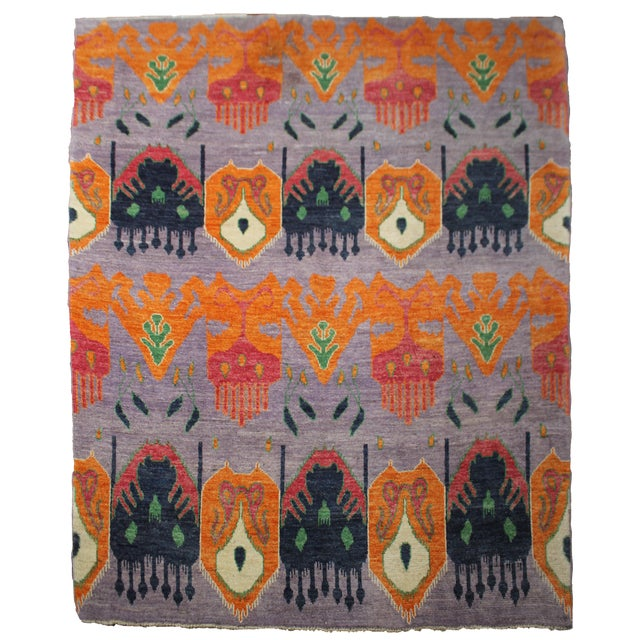 """Hand Knotted Ikat Rug by Aara Rugs Inc. 12'5"""" X 9'5"""" For Sale"""