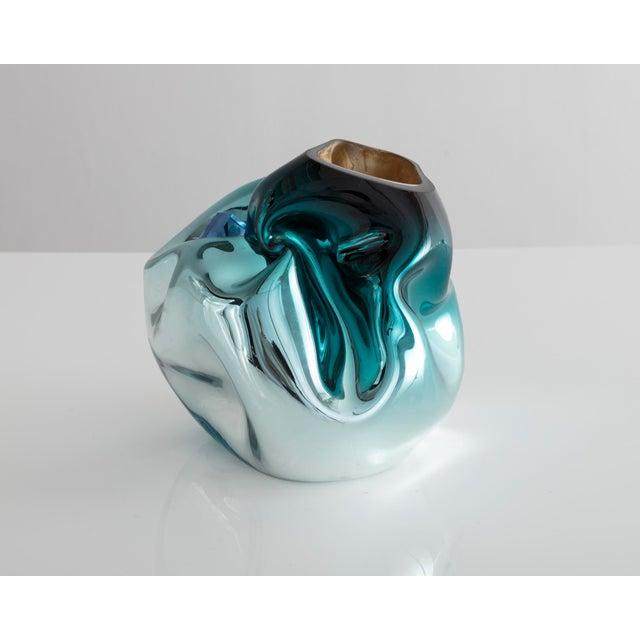 Unique petite crumpled sculptural vessel - Image 3 of 5