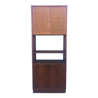 Mid Century Walnut Shelving Unit With Caned Doors & Cabinets For Sale