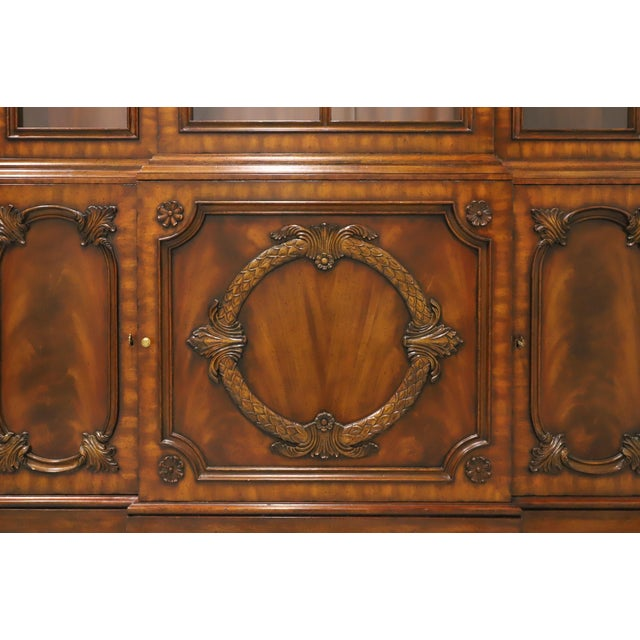 Brown Maitland Smith Aged Mahogany Chippendale Breakfront China Cabinet For Sale - Image 8 of 13