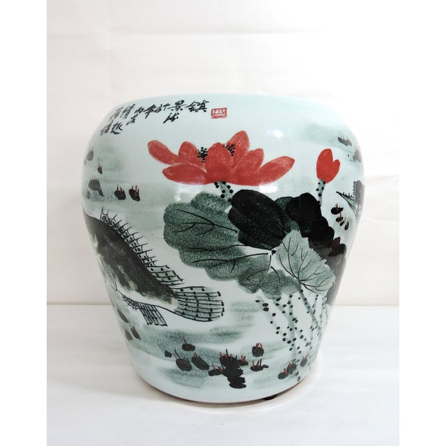 Chinoiserie Vintage Fish & Lotus Flower Chinese Ceramic Drum Seat or Garden Stool, Side Table, Pedestal For Sale - Image 3 of 8