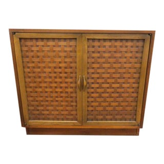1960s Vintage Mid Century Modern Lane Perception 2 Door Cabinet For Sale