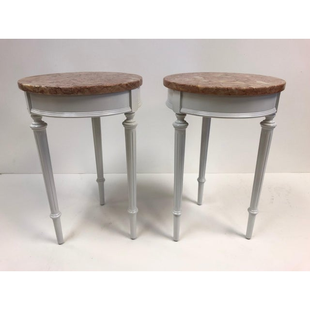 Wood Pair Hollywood Regency Marble Top Side Tables For Sale - Image 7 of 7